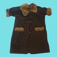 Vintage Handmade Brown Wool & Tan Mohair Doll Coat