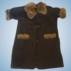 Vintage Handmade Brown Wool & Tan Mohair Doll Coat