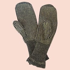 Antique Early 1900's Hand Knitted Mittens