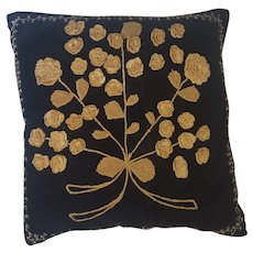 Vintage Folk Art Crocheted Floral Design Black Velveteen Pillow