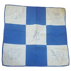 Vintage Folk Art Blue & White Crib Quilt w/Embroidered Animals