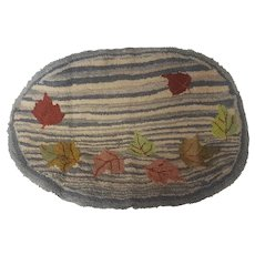 Vintage Folk Art Striped Hooked Rug with Falling Leaves