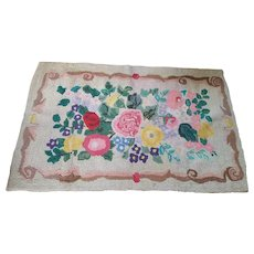 Large Vintage Folk Art Bright Colored Floral Design Hooked Rug