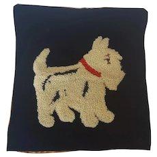Vintage Ohio Folk Art Scottie Dog Hooked Pillow Cover