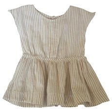 Vintage Handmade Small Child's Brown & White Striped Play Dress