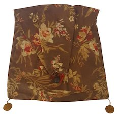 Mid 19th C. Handmade Ladies' Floral Fabric Pocket/Pouch