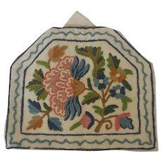 Vintage Handmade Folk Art Floral Crewelwork Tea Cozy