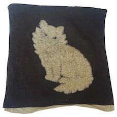 Vintage Handmade White Kitten Hooked Pillow Cover