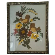 Vintage Mid 20th C. Framed Crewelwork Embroidery of Birds & Flowers