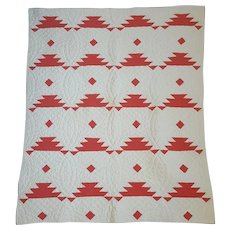 Graphic Vintage Folk Art Red & White Sawtooth True Crib Quilt