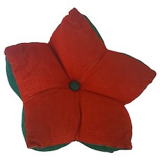 Vintage Folk Art Red & Green Corduroy Star Pillow