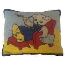 Vintage Folk Art Hooked Pillow with Dog Smoking Pipe Design