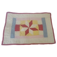Graphic Antique Early 1900's PA. Folk Art Star Design True Doll Quilt