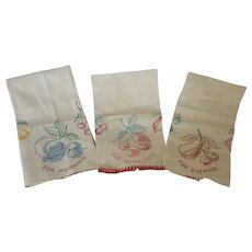 Set of 3 Vintage Embroidered Tea Towels for Morning, Noon-Time, and Evening