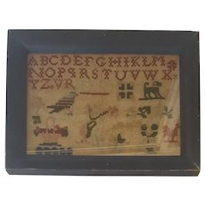 Diminutive Antique 1856 Wool on Linen Sampler with Bird, Dog, Rooster+