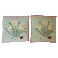 Pair Vintage  Daffodils & Ladybug Design Applique Pillows