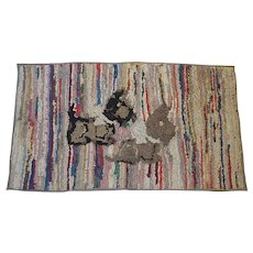 Vintage Primitive PA. Folk Art Scottie Dogs Hooked Rug