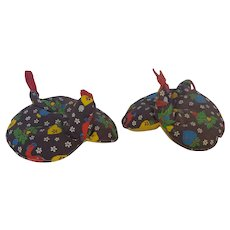 Pair of Funky Vintage 1960's-70's Rooster & Hen Pot Holders
