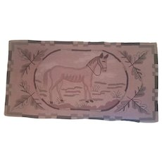 Vintage Folk Art Horse and Oak Leaves Hooked Rug from my Collection