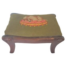 Charming Vintage Spaniel Dog on Cushion Needlepoint Top Walnut Footstool from my Collection
