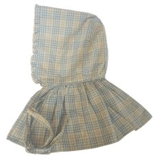 Antique Lancaster Co. PA Sky Blue & White Plaid Cotton Pioneer Bonnet