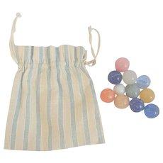 Vintage Lancaster Co. PA. Blue & White Striped Bag of Marbles