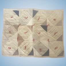 Early 1900's Primitive Handmade Folk Art Patchwork Doll Quilt