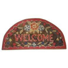 "Vintage Semi-Circle Floral Design ""Welcome"" Hooked Rug"