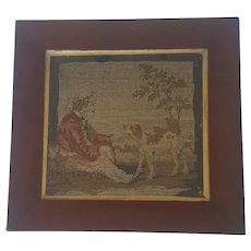 19th C. Victorian Woolwork Needlepoint of Boy & His Dog