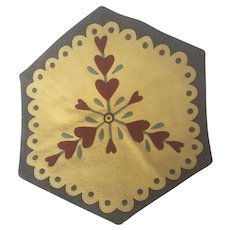 Vintage Folk Art Hexagonal Felt & Wool Heart Design Table Mat
