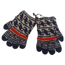 Vintage Pair of Red, White, & Blue Hand Knit Glover