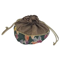 Diminutive Vintage Handmade Fabric Drawstring Pouch/Ditty Bag