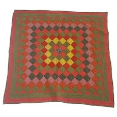Rare Antique c. 1880's PA. Double-Sided Crib Quilt
