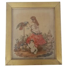 Antique 19th C. Victorian Needlepoint of Girl, Bird, and Dog in Garden