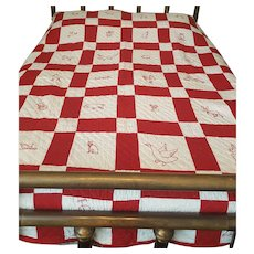 Graphic Near Mint Antique C. 1910 Red & White Quilt with Redwork Embroidery