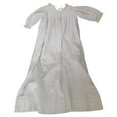 Antique C. 1860's-1880's Blue & White Print Small Child's Dress