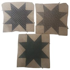 Group of 3 Antique PA. Folk Art 8-Point Star Quilt Blocks
