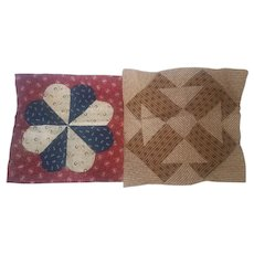 Group of 2 Large Antique PA. Folk Art Quilt Squares inc. Temperance Block