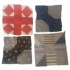 Group of 4 Antique PA. Folk Art Quilt Blocks, inc. 2 Bowties
