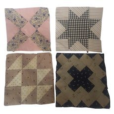 Group of 4 Antique PA. Folk Art Quilt Blocks, All Different