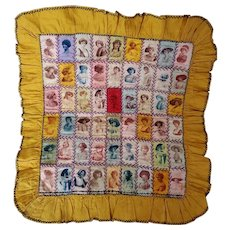 Very Rare Early 1900's Cigar Silk Doll Quilt with Actresses & Baseball Player