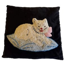 Vintage Folk Art White Kitten Hooked Pillow