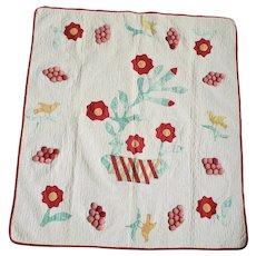 Rare c. 1850 New Hampshire Vase of Flowers, Stuffed Cherries, & Birds Crib Quilt