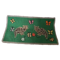 Vintage Naive Folk Art Cats and Butterflies Hooked Rug