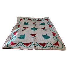 Graphic Vintage 1930's Cardinal Bird & Cherry Cluster Crib Quilt from my Collection