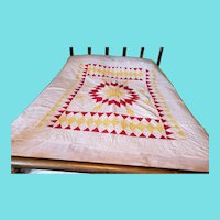 Graphic Antique c. 1890's Red, Yellow, & White Lone Star Crib Quilt