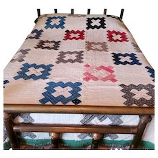 Antique Early 1900's Friendship Quilt in Great Old Fabrics