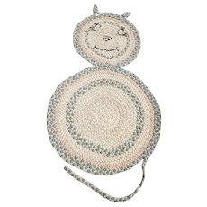 Unusual Vintage Folk Art Cat Form Braided Rug