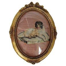 Sweet Vintage Needlepoint of Recumbent St. Bernard Dog on Cushion