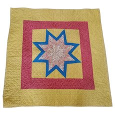 Graphic Vintage Folk Art Lone Star Double-Sided Crib Quilt